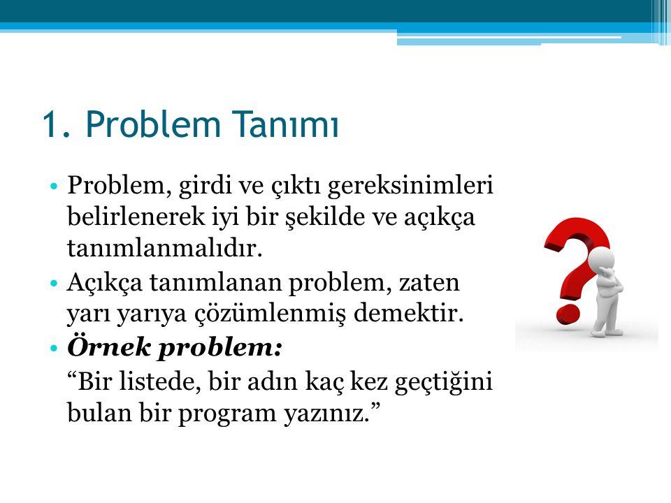 1. Problem Tanımı Problem, girdi ve çıktı gereksinimleri belirlenerek iyi bir şekilde ve açıkça tanımlanmalıdır.