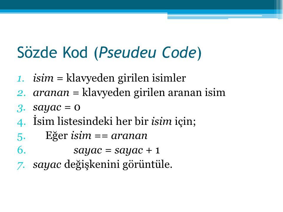 Sözde Kod (Pseudeu Code)