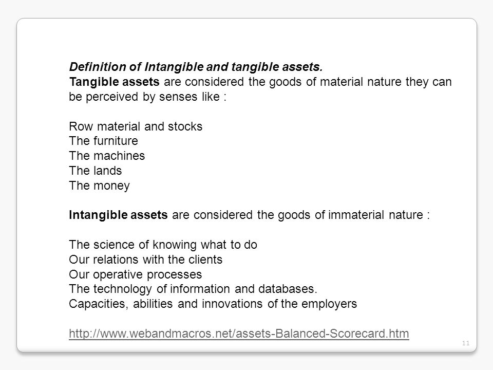 Definition of Intangible and tangible assets.