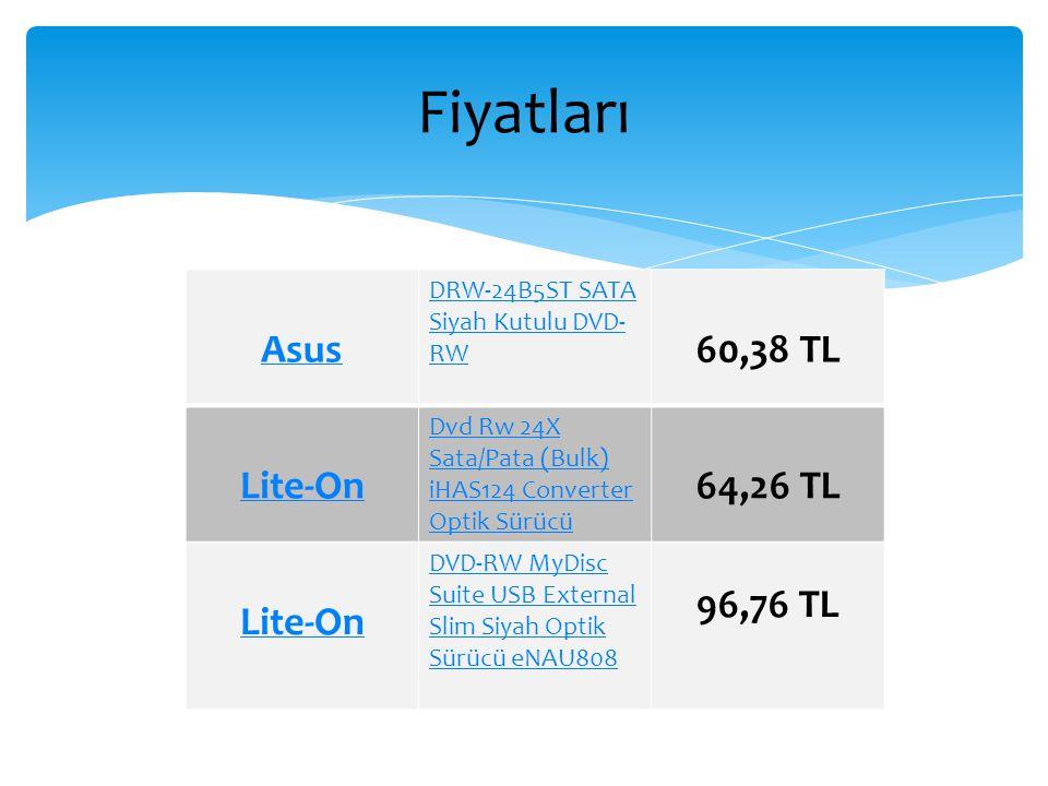 Fiyatları Asus 60,38 TL Lite-On 64,26 TL 96,76 TL