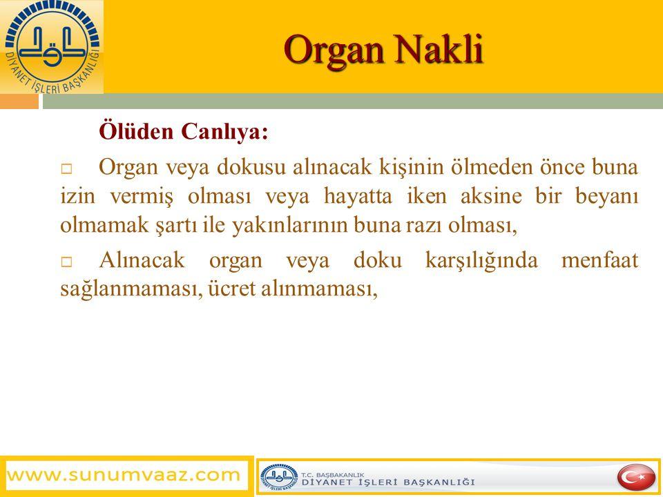 Organ Nakli Ölüden Canlıya: