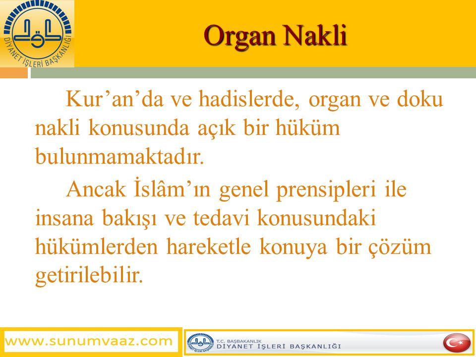Organ Nakli Kur'an'da ve hadislerde, organ ve doku nakli konusunda açık bir hüküm bulunmamaktadır.