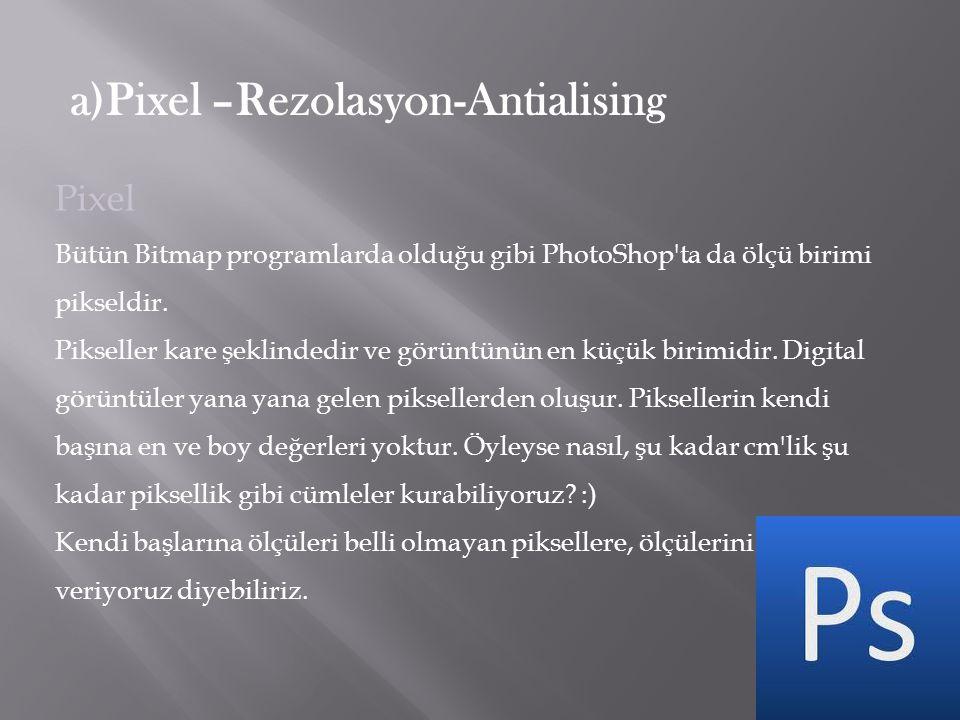 a)Pixel –Rezolasyon-Antialising