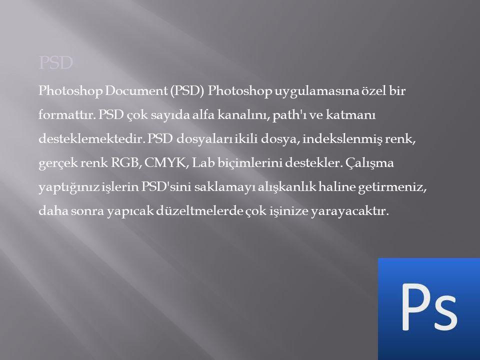 PSD Photoshop Document (PSD) Photoshop uygulamasına özel bir formattır