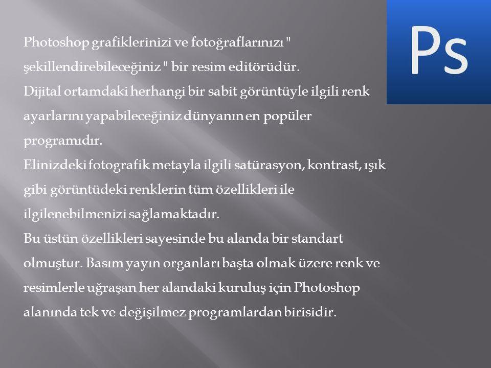 Photoshop grafiklerinizi ve fotoğraflarınızı şekillendirebileceğiniz bir resim editörüdür.