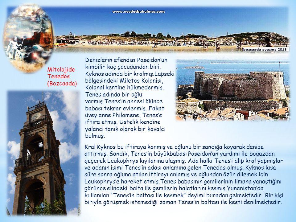 Denizlerin efendisi Poseidon'un kimbilir kaç çocuğundan biri, Kyknos adında bir kralmış.Lapseki bölgesindeki Miletos Kolonisi, Kolonai kentine hükmedermiş. Tenes adında bir oğlu varmış.Tenes'in annesi ölünce babası tekrar evlenmiş. Fakat üvey anne Philomene, Tenes'e iftira etmiş. Üstelik kendine yalancı tanık olarak bir kavalcı bulmuş.