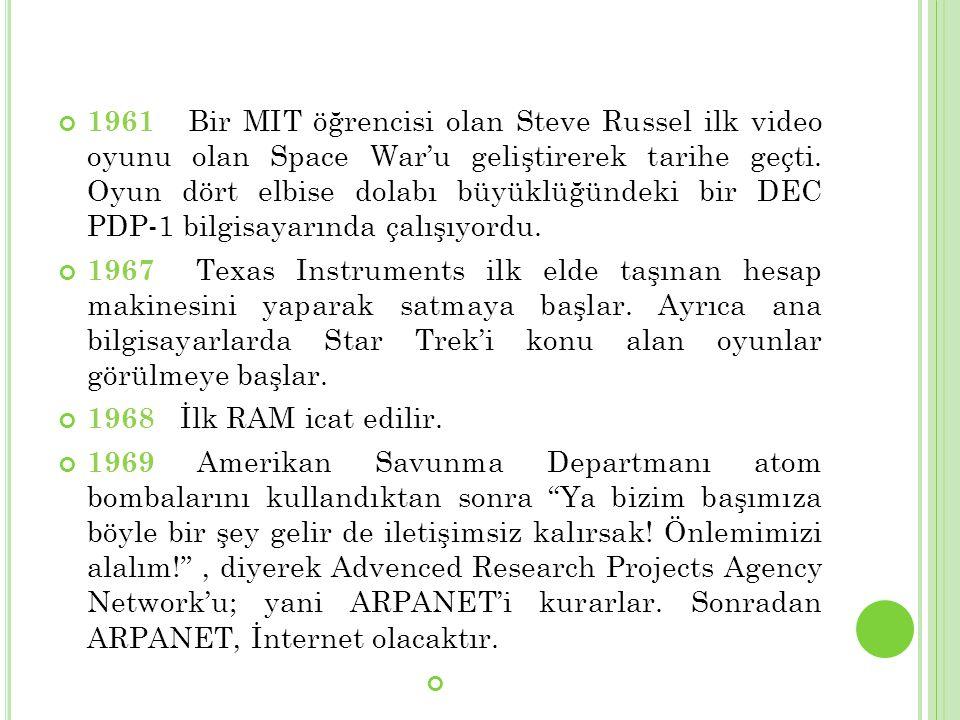 1961 Bir MIT öğrencisi olan Steve Russel ilk video oyunu olan Space War'u geliştirerek tarihe geçti. Oyun dört elbise dolabı büyüklüğündeki bir DEC PDP-1 bilgisayarında çalışıyordu.