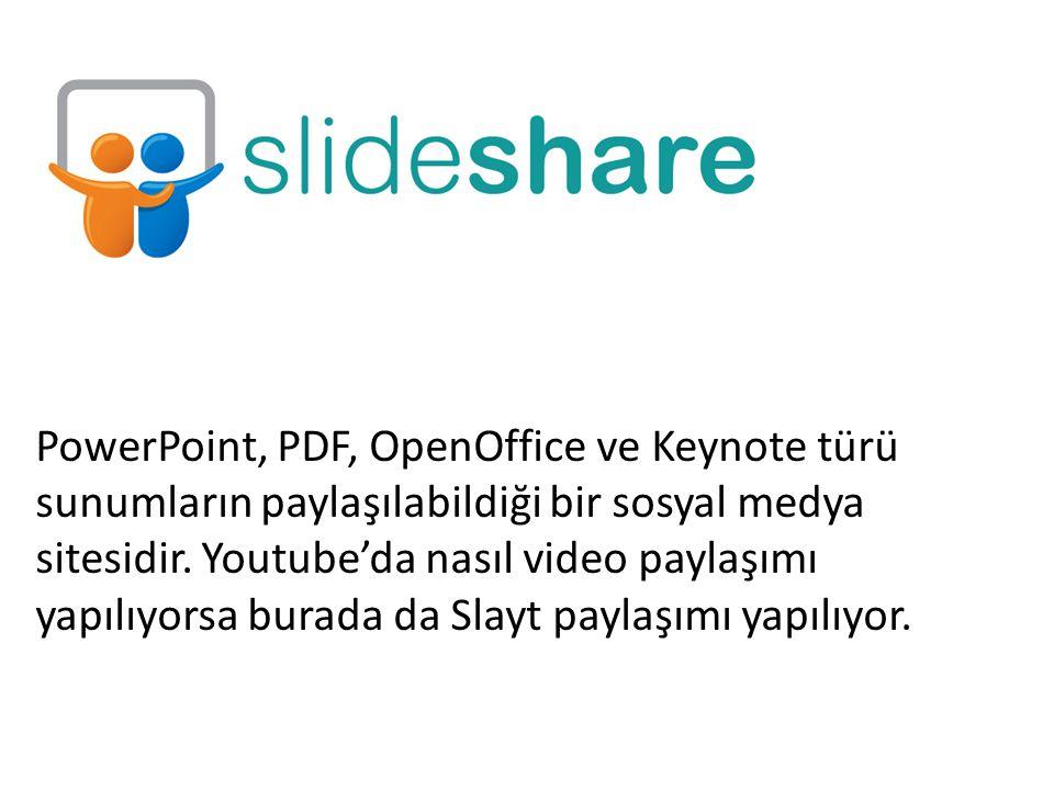 PowerPoint, PDF, OpenOffice ve Keynote türü sunumların paylaşılabildiği bir sosyal medya sitesidir.