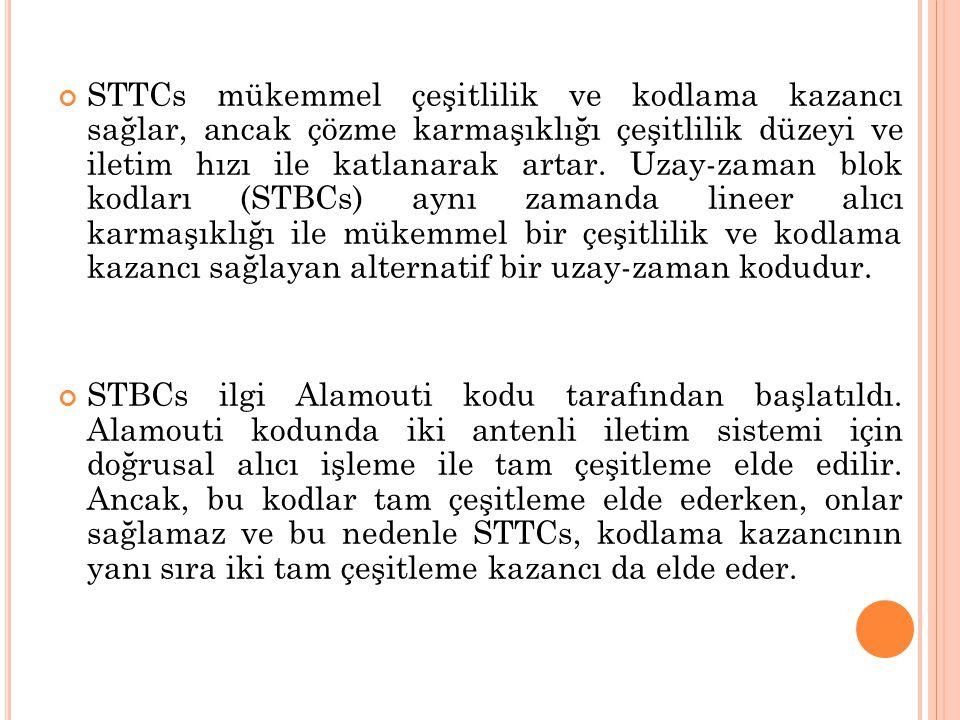 STTCs mükemmel çeşitlilik ve kodlama kazancı sağlar, ancak çözme karmaşıklığı çeşitlilik düzeyi ve iletim hızı ile katlanarak artar. Uzay-zaman blok kodları (STBCs) aynı zamanda lineer alıcı karmaşıklığı ile mükemmel bir çeşitlilik ve kodlama kazancı sağlayan alternatif bir uzay-zaman kodudur.