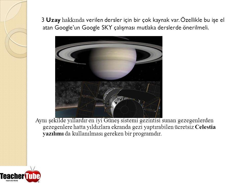 3 Uzay hakkında verilen dersler için bir çok kaynak var
