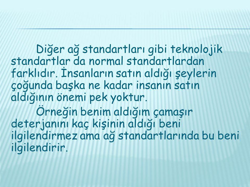 Diğer ağ standartları gibi teknolojik standartlar da normal standartlardan farklıdır.