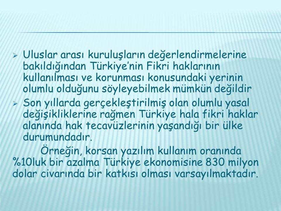 Uluslar arası kuruluşların değerlendirmelerine bakıldığından Türkiye'nin Fikri haklarının kullanılması ve korunması konusundaki yerinin olumlu olduğunu söyleyebilmek mümkün değildir