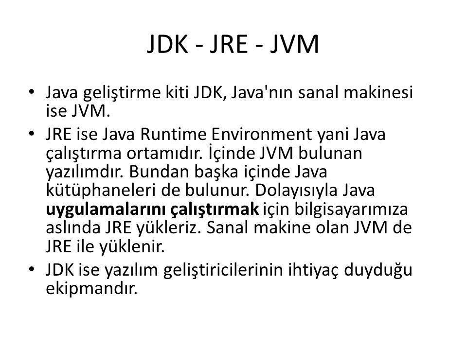 JDK - JRE - JVM Java geliştirme kiti JDK, Java nın sanal makinesi ise JVM.