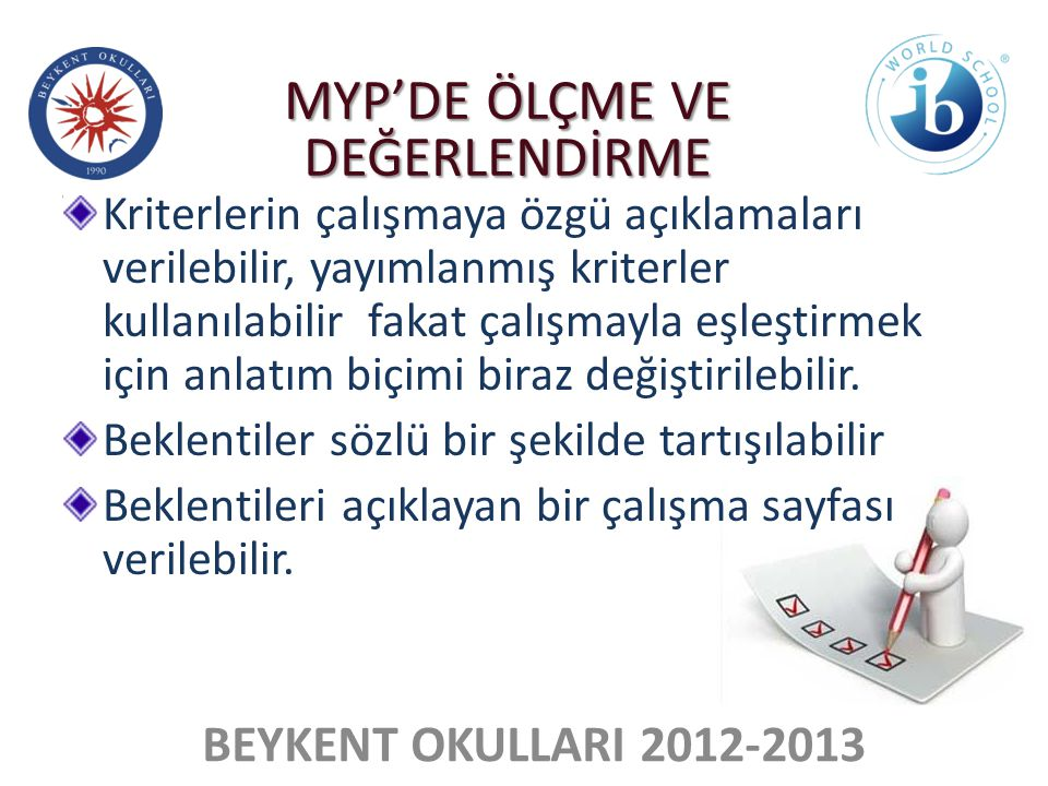 MYP'DE ÖLÇME VE DEĞERLENDİRME