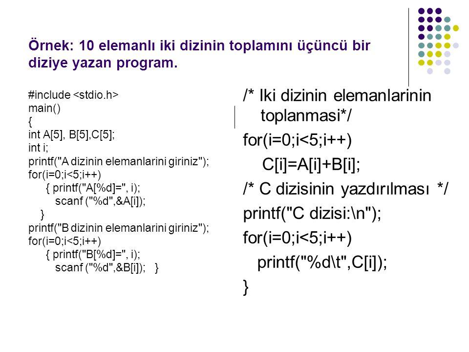 /* Iki dizinin elemanlarinin toplanmasi*/ for(i=0;i<5;i++)