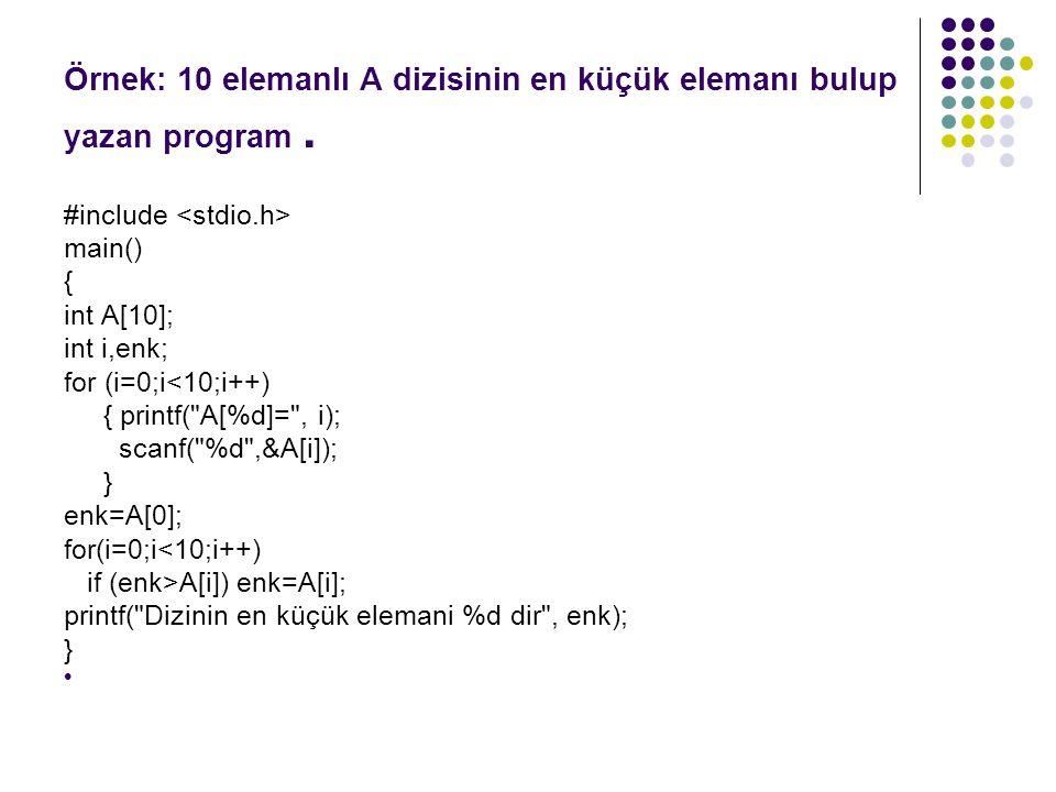 Örnek: 10 elemanlı A dizisinin en küçük elemanı bulup yazan program .