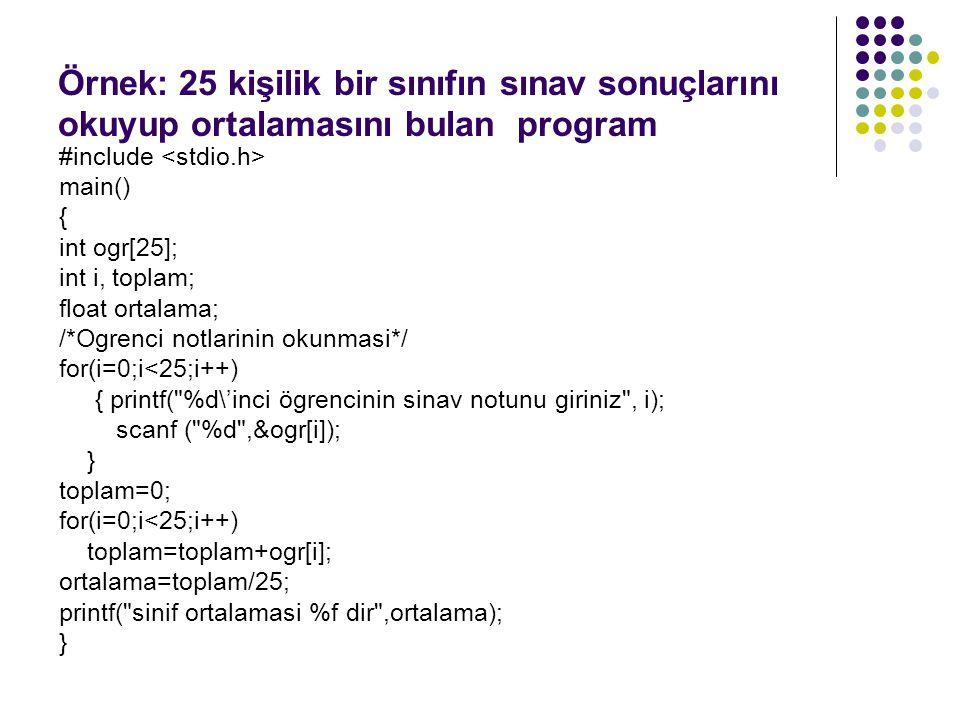 Örnek: 25 kişilik bir sınıfın sınav sonuçlarını okuyup ortalamasını bulan program