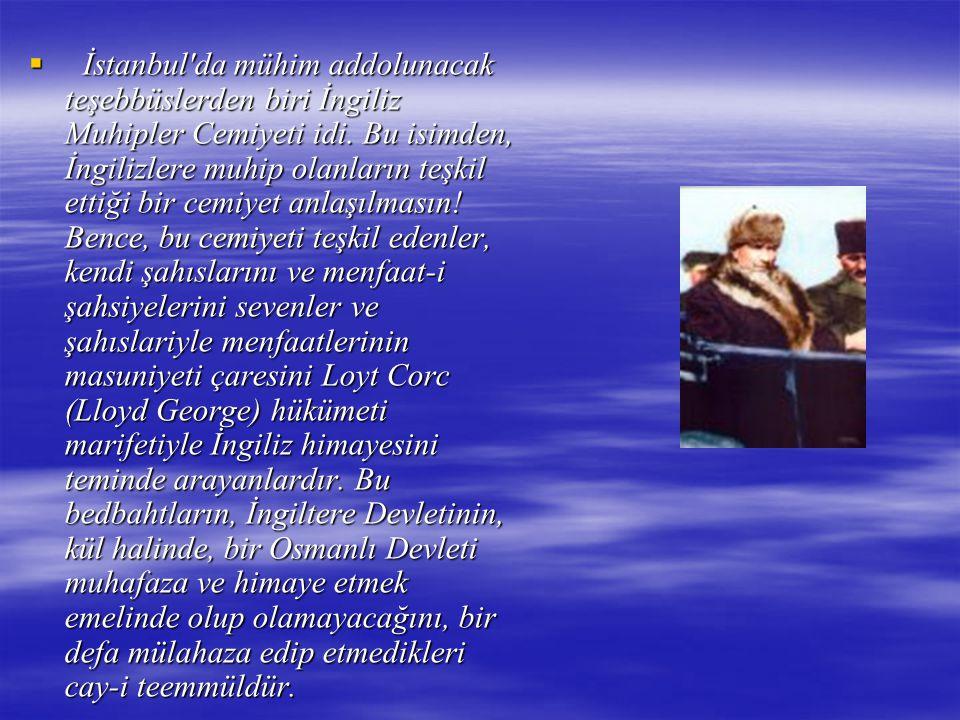 İstanbul da mühim addolunacak teşebbüslerden biri İngiliz Muhipler Cemiyeti idi.