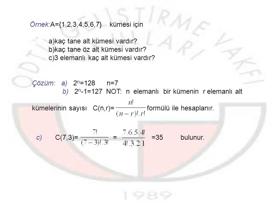 Örnek:A={1,2,3,4,5,6,7} kümesi için