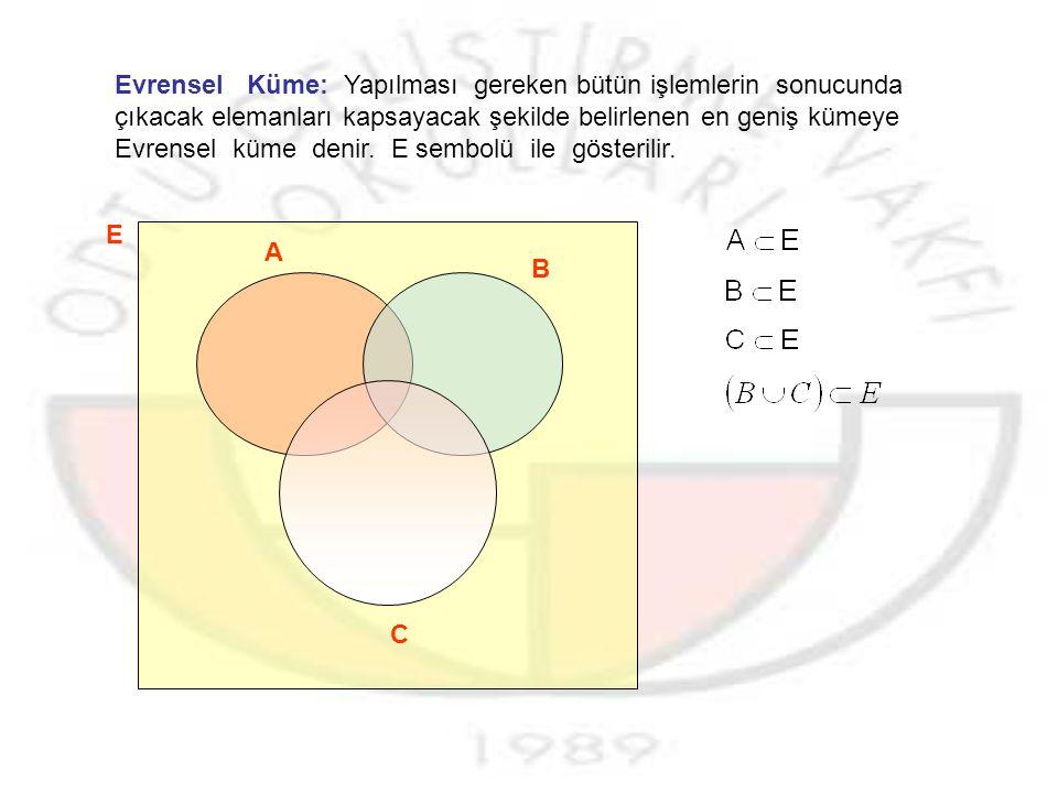 Evrensel Küme: Yapılması gereken bütün işlemlerin sonucunda çıkacak elemanları kapsayacak şekilde belirlenen en geniş kümeye Evrensel küme denir. E sembolü ile gösterilir.