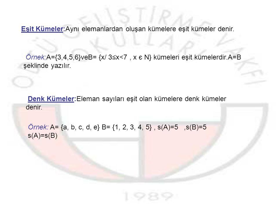 Eşit Kümeler:Aynı elemanlardan oluşan kümelere eşit kümeler denir.