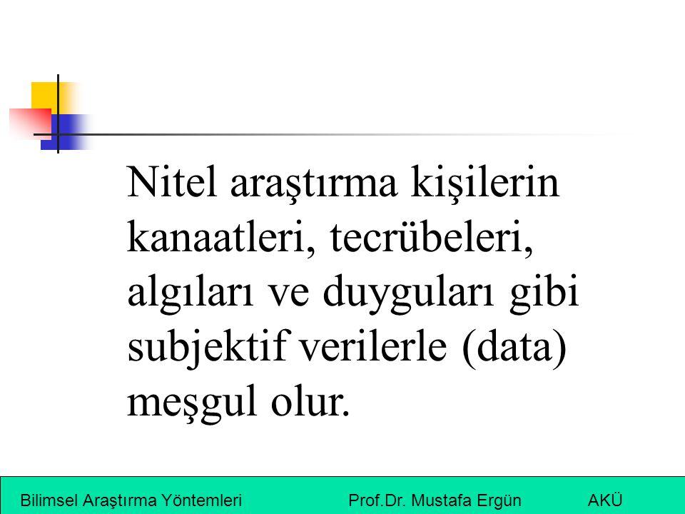 Nitel araştırma kişilerin kanaatleri, tecrübeleri, algıları ve duyguları gibi subjektif verilerle (data) meşgul olur.