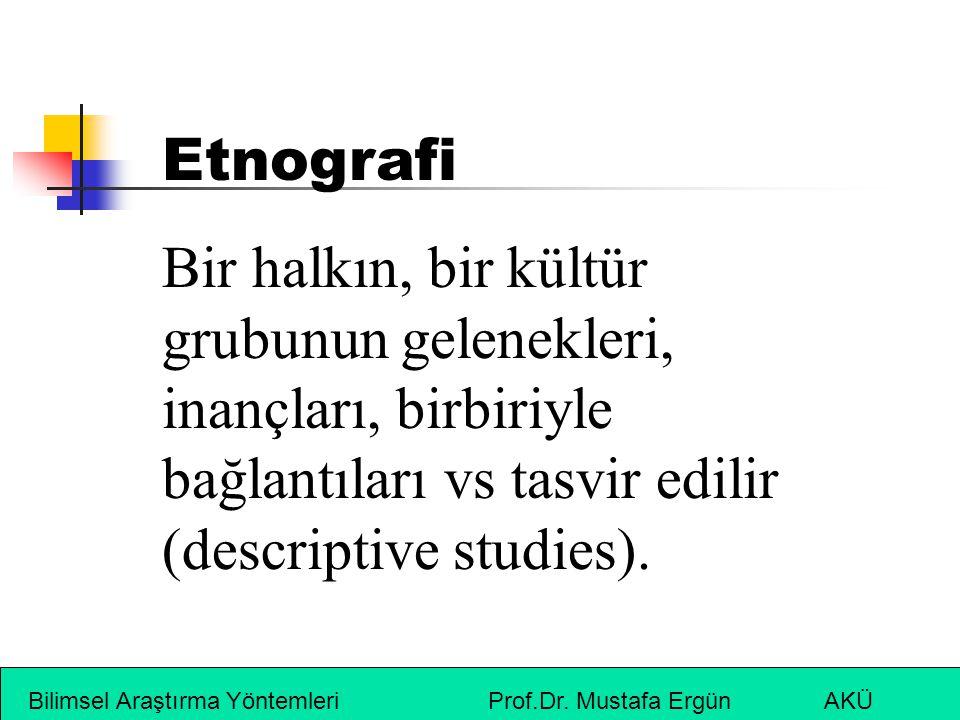 Etnografi Bir halkın, bir kültür grubunun gelenekleri, inançları, birbiriyle bağlantıları vs tasvir edilir (descriptive studies).