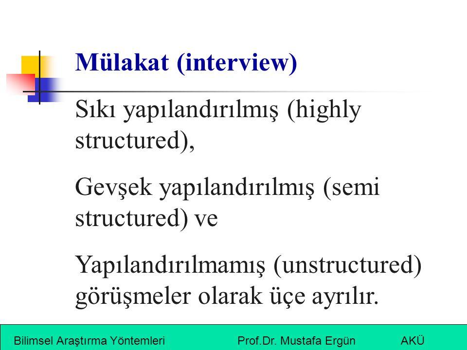 Sıkı yapılandırılmış (highly structured),