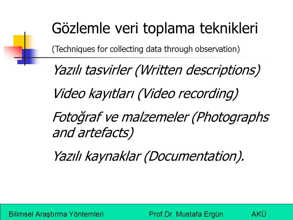 Gözlemle veri toplama teknikleri
