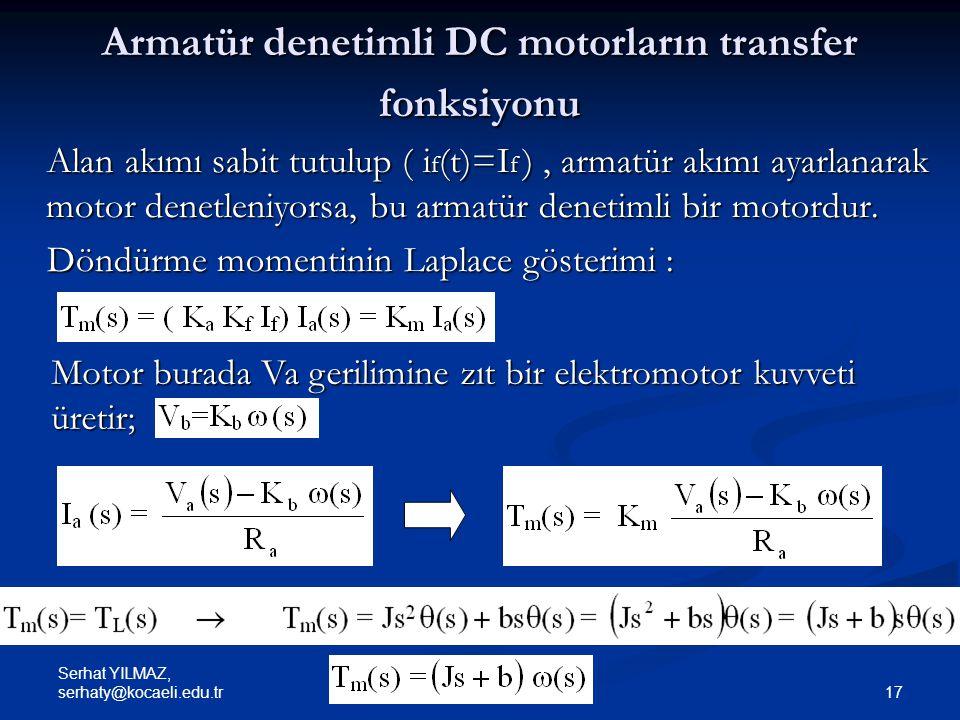 Armatür denetimli DC motorların transfer fonksiyonu