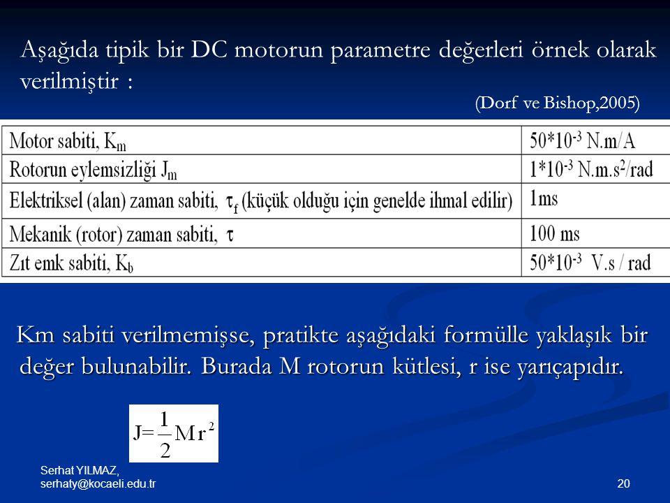 Aşağıda tipik bir DC motorun parametre değerleri örnek olarak verilmiştir :