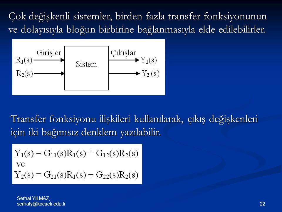 Çok değişkenli sistemler, birden fazla transfer fonksiyonunun ve dolayısıyla bloğun birbirine bağlanmasıyla elde edilebilirler.