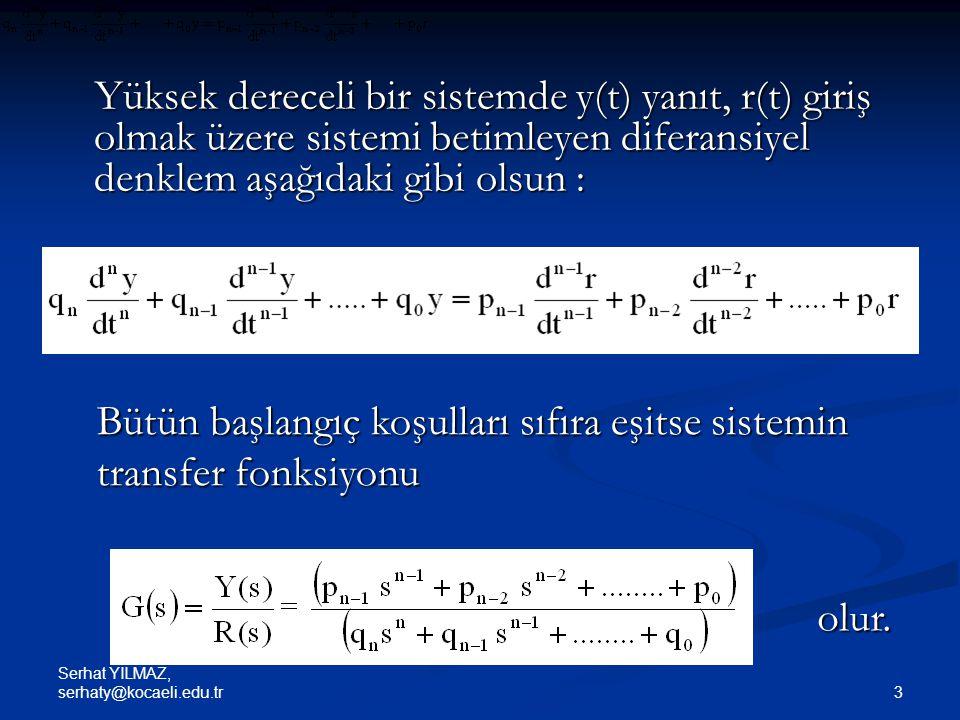 Bütün başlangıç koşulları sıfıra eşitse sistemin transfer fonksiyonu