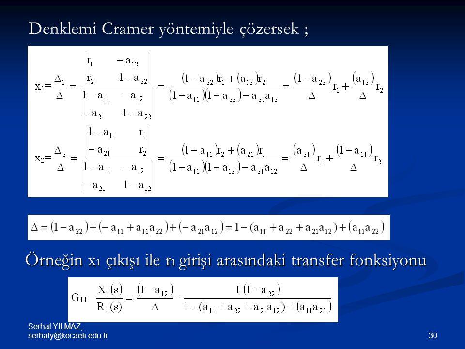 Denklemi Cramer yöntemiyle çözersek ;