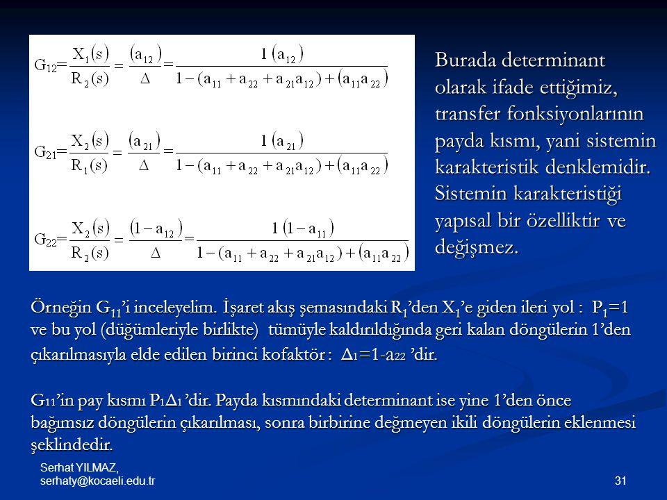 Burada determinant olarak ifade ettiğimiz, transfer fonksiyonlarının payda kısmı, yani sistemin karakteristik denklemidir. Sistemin karakteristiği yapısal bir özelliktir ve değişmez.