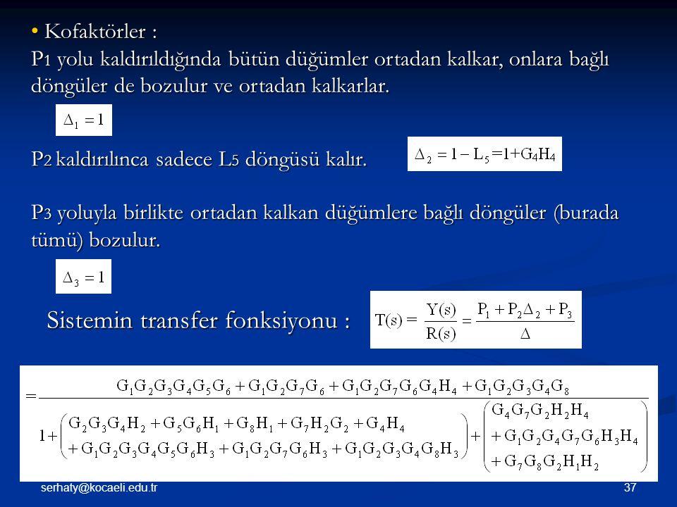 Sistemin transfer fonksiyonu :