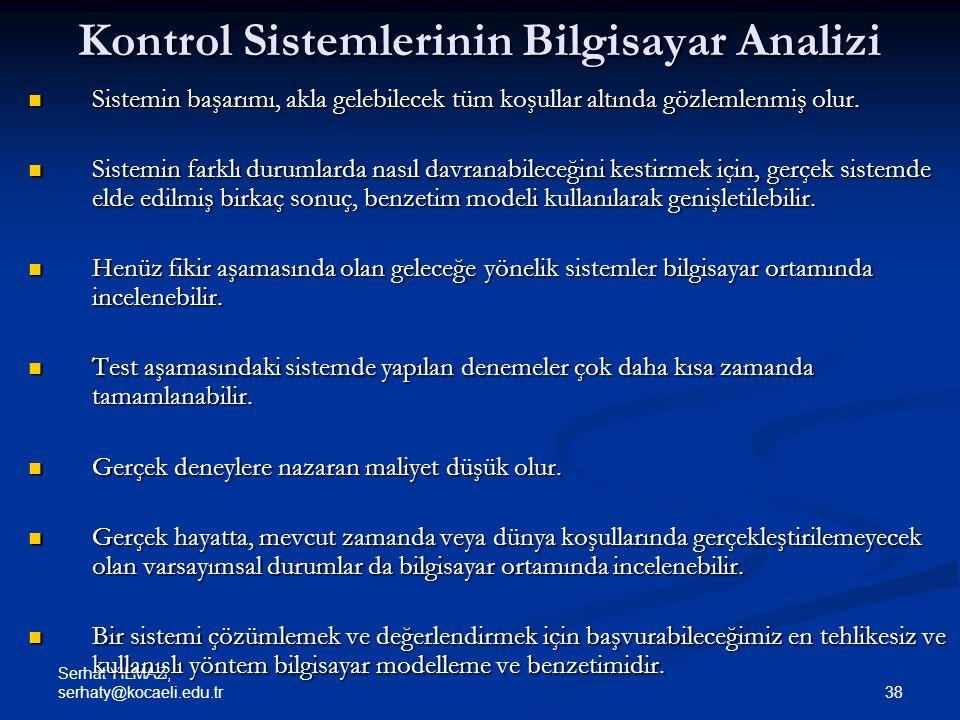 Kontrol Sistemlerinin Bilgisayar Analizi