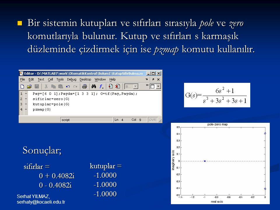 Bir sistemin kutupları ve sıfırları sırasıyla pole ve zero komutlarıyla bulunur. Kutup ve sıfırları s karmaşık düzleminde çizdirmek için ise pzmap komutu kullanılır.