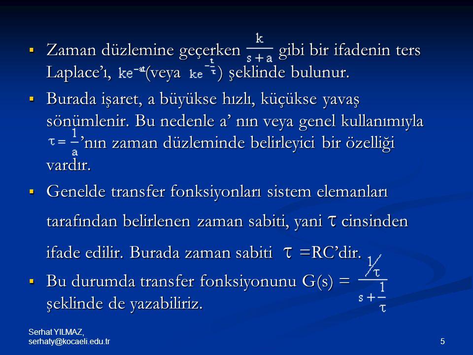 Bu durumda transfer fonksiyonunu G(s) = şeklinde de yazabiliriz.