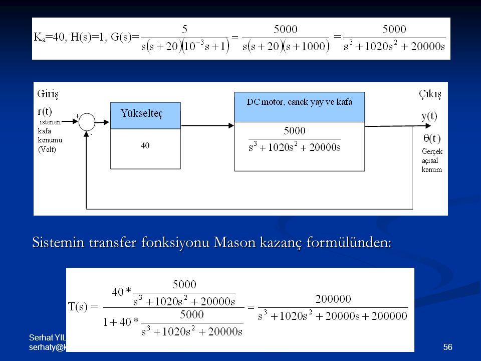 Sistemin transfer fonksiyonu Mason kazanç formülünden: