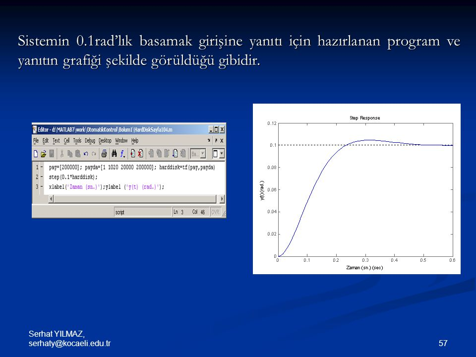 Sistemin 0.1rad'lık basamak girişine yanıtı için hazırlanan program ve yanıtın grafiği şekilde görüldüğü gibidir.