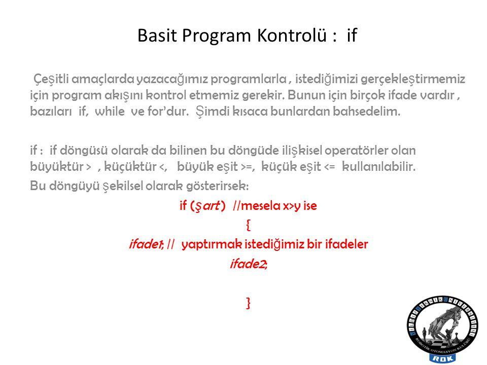 Basit Program Kontrolü : if