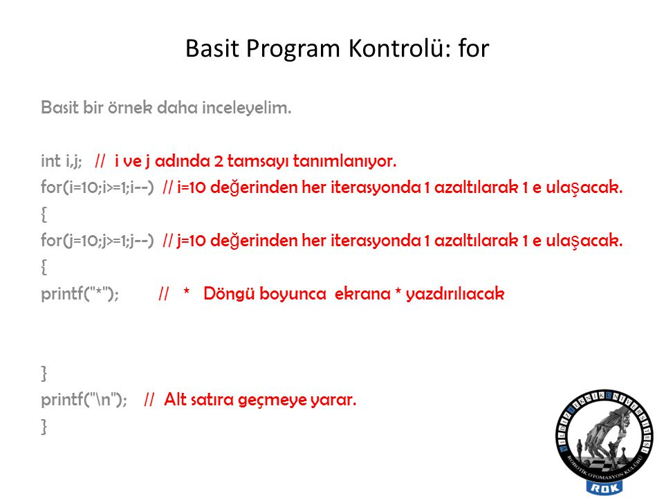 Basit Program Kontrolü: for
