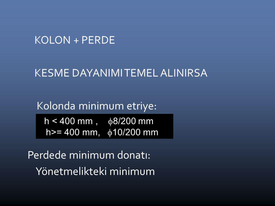 KESME DAYANIMI TEMEL ALINIRSA Kolonda minimum etriye:  8 / 200 mm
