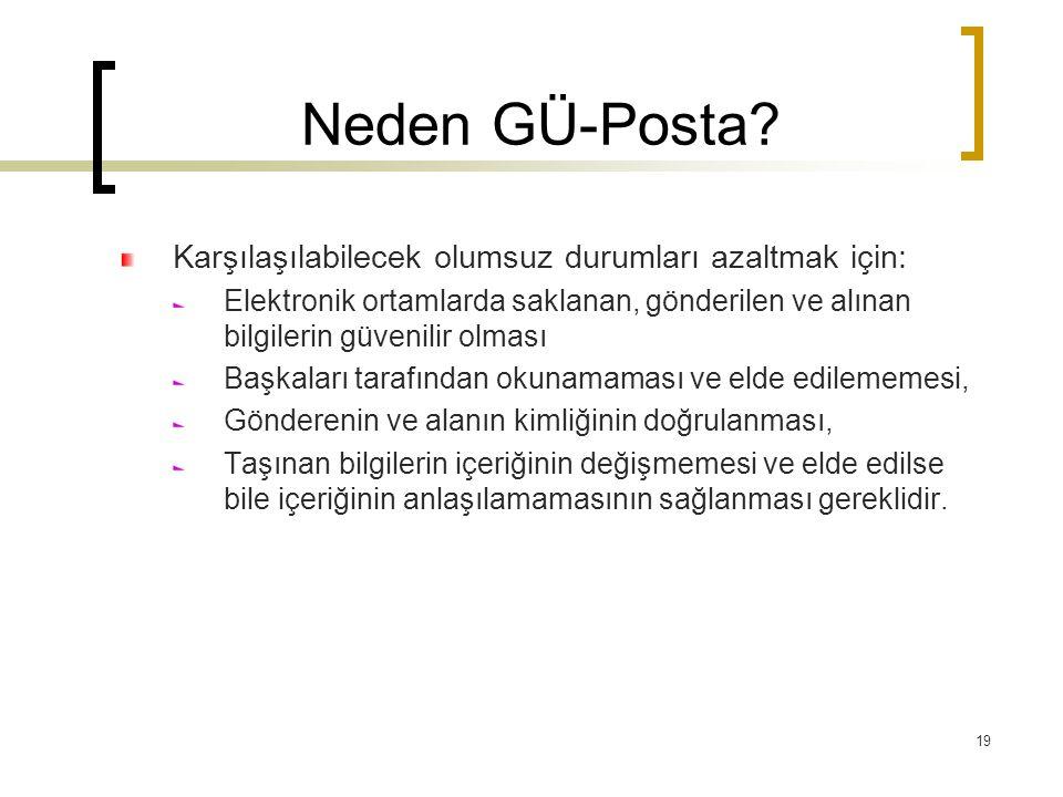 Neden GÜ-Posta Karşılaşılabilecek olumsuz durumları azaltmak için: