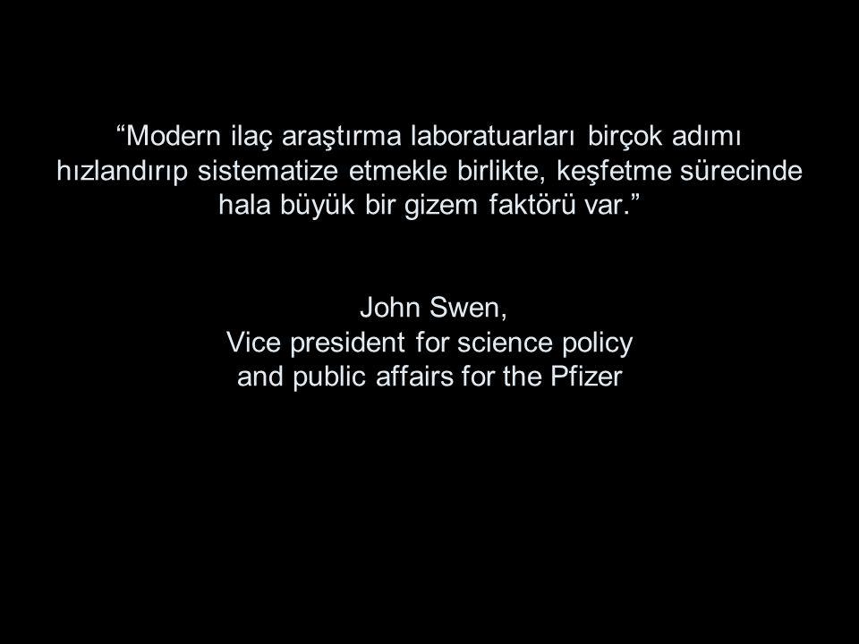 Modern ilaç araştırma laboratuarları birçok adımı hızlandırıp sistematize etmekle birlikte, keşfetme sürecinde hala büyük bir gizem faktörü var. John Swen, Vice president for science policy and public affairs for the Pfizer