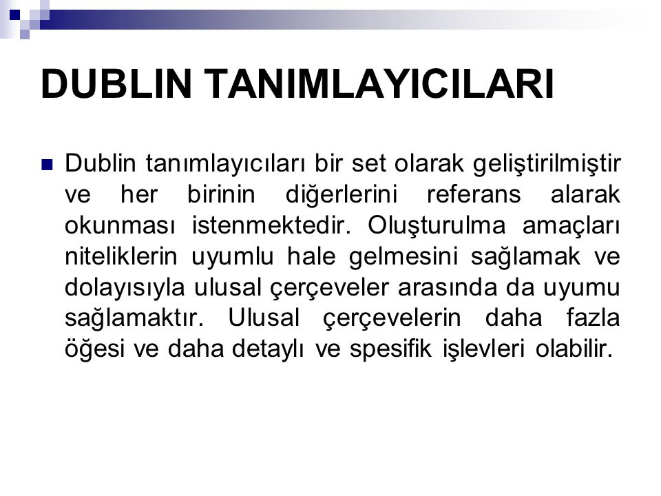 DUBLIN TANIMLAYICILARI