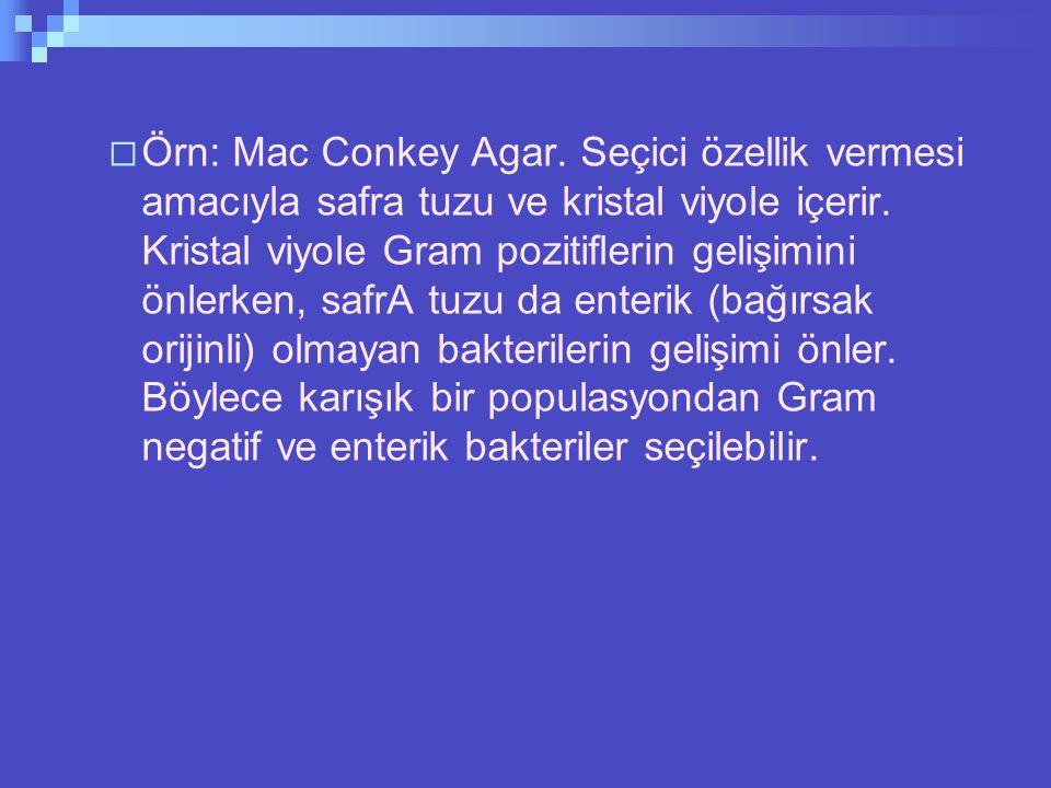 Örn: Mac Conkey Agar. Seçici özellik vermesi amacıyla safra tuzu ve kristal viyole içerir.