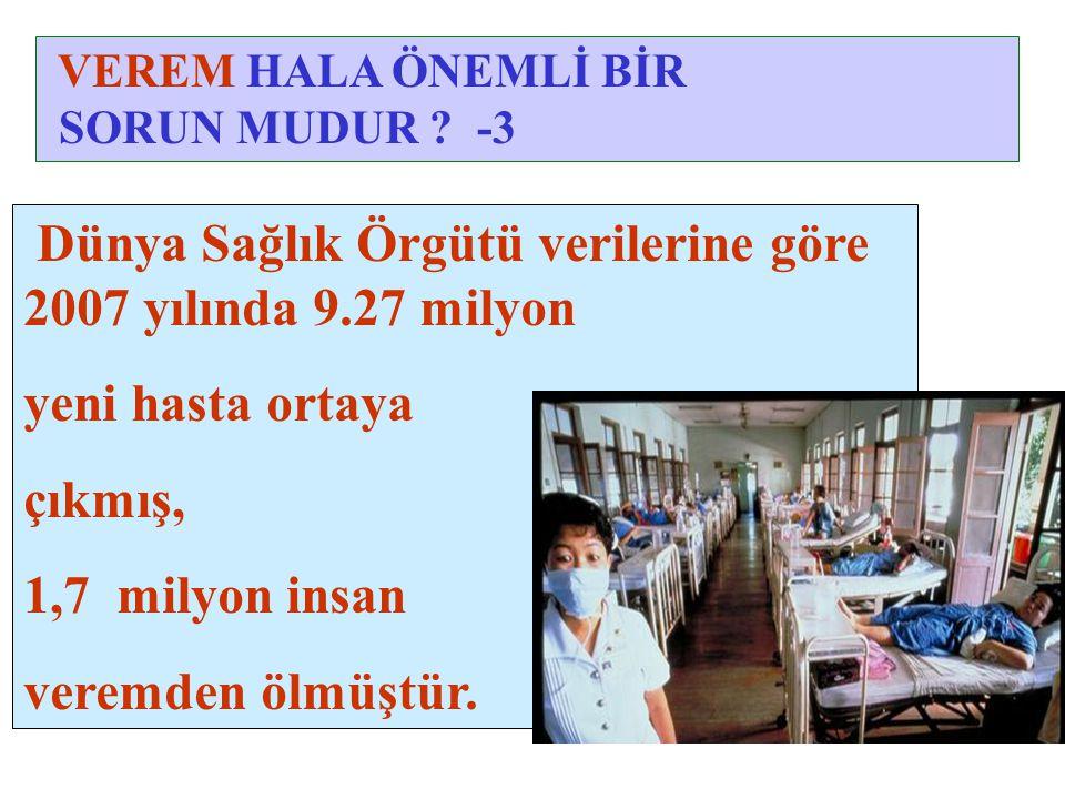 Dünya Sağlık Örgütü verilerine göre 2007 yılında 9.27 milyon