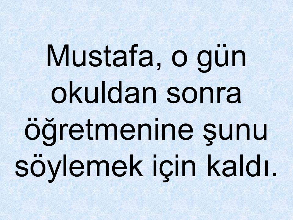 Mustafa, o gün okuldan sonra öğretmenine şunu söylemek için kaldı.